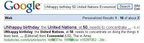 UNhappy birthday United Nations, Economist article
