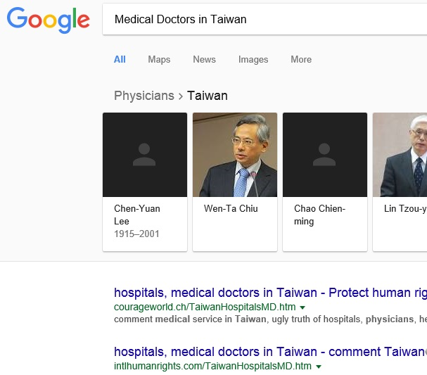 "No.1 ""Medical Doctors Taiwan"" on US Google, 1-28-2018"