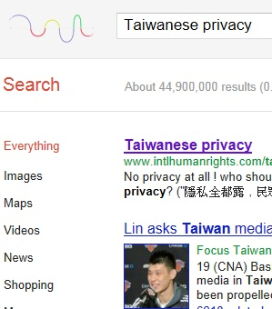Taiwanese privacy, J. Lin Knicks